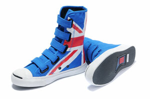 Converse Jack Purcell British(UK) Flag High Top Velcro Strap Union Jack...