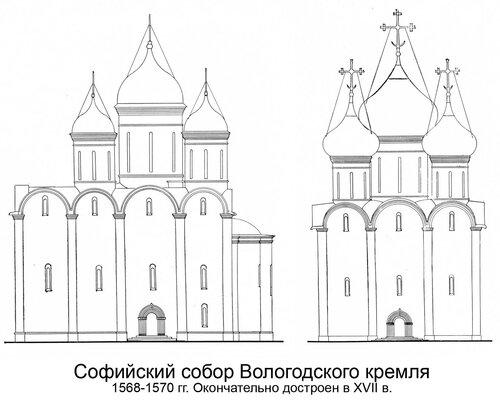 Софийский собор Вологодского кремля 1568-1570 гг., чертежи фасадов