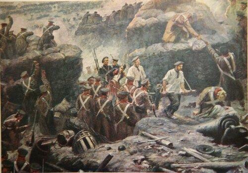 022 Фрагмент Панорамы: Пётр Кошка и Фёдор Заика ведут пленного француза