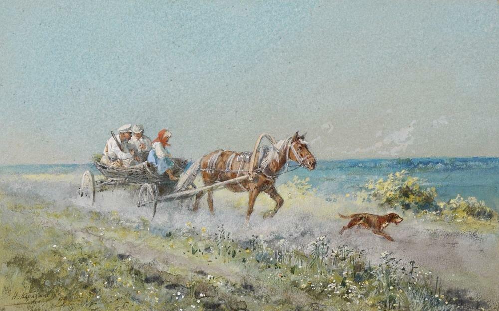 НИКОЛАЙ НИКОЛАЕВИЧ КАРАЗИН (1842-1908) НА ОХОТУ. В ДОРОГЕ. 1899