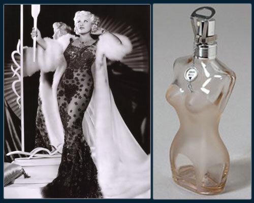 1.Мей Уэст в платье от  Эльзы Скьяпарелли; 2. Флакон  духов в форме фигуры Уэст