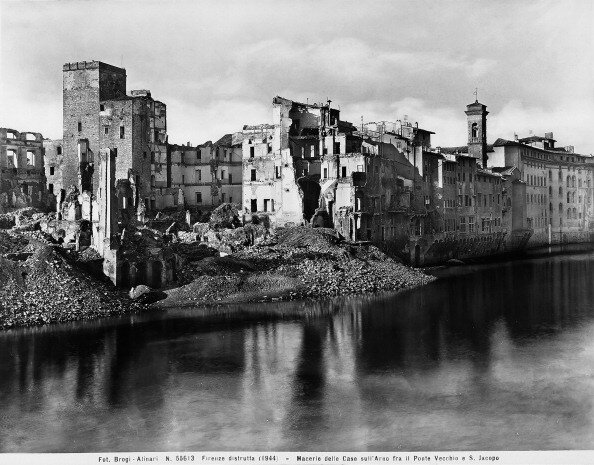 World War II: the houses along the Arno River, between the Ponte Vecchio and San Jacopo in Florence, after the bombing. This photograph was formerly part of the Brogi Collection, but now belongs to the Alinari Collection
