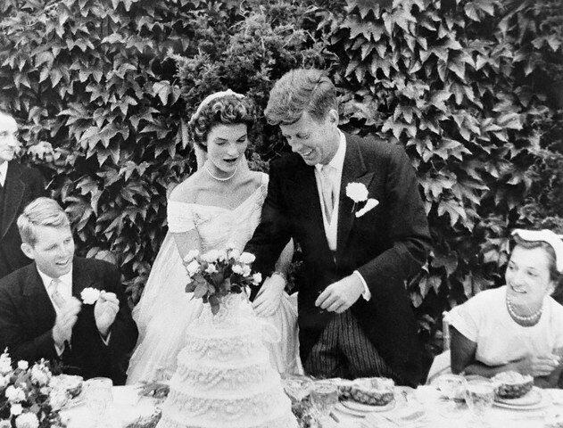 John F. and Jackie Kennedy Cutting Wedding Cake