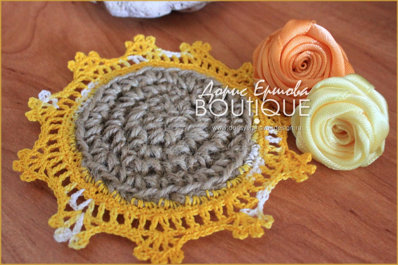 мини-подставка под горячее, джут, кружево, вязанье крючком, нитки ирис, розы из шелка, морской камень, желтый, оранжевый