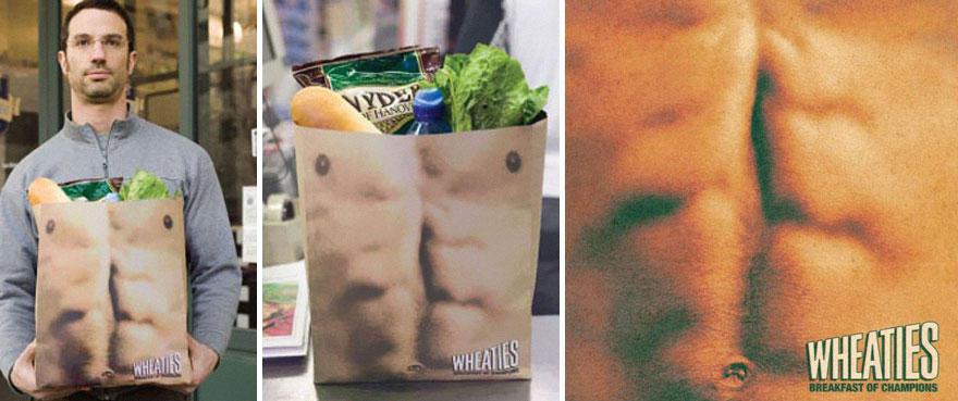 15. Пакет компании здоровых завтраков Wheaties. Да уж, в такой и бутылку пива положить-то стыдно.