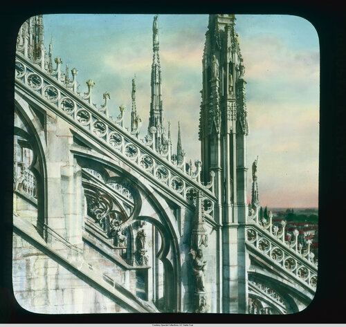 Milan. Cathedral (Duomo): roof detail, tracery on the buttresses