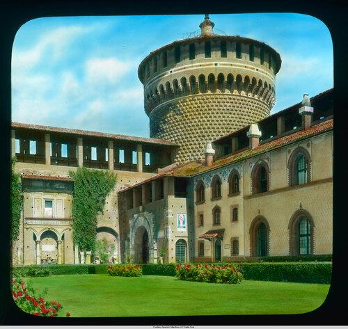 Milan. Sforza Castle: courtyard and tower