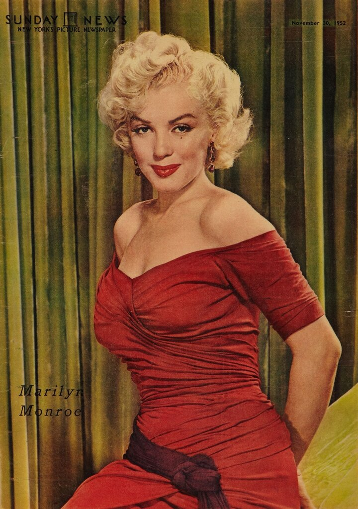 Marilyn Monroe on the front cover of the New York Sunday News, 1952