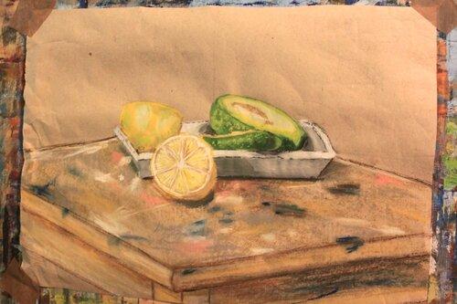 фрукты рисовали гуашью,