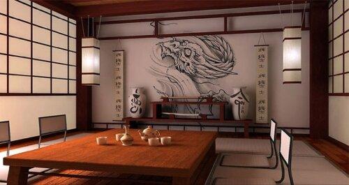 Пример оформления комнаты в японском стиле.