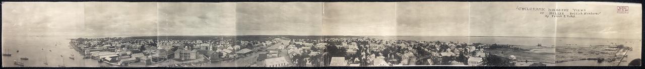 1914. Белиз, Британский Гондурас, круговая панорама с высоты птичьего полета