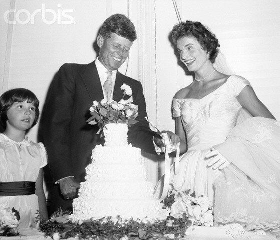 John and Jacqueline Kennedy Cut Wedding Cake