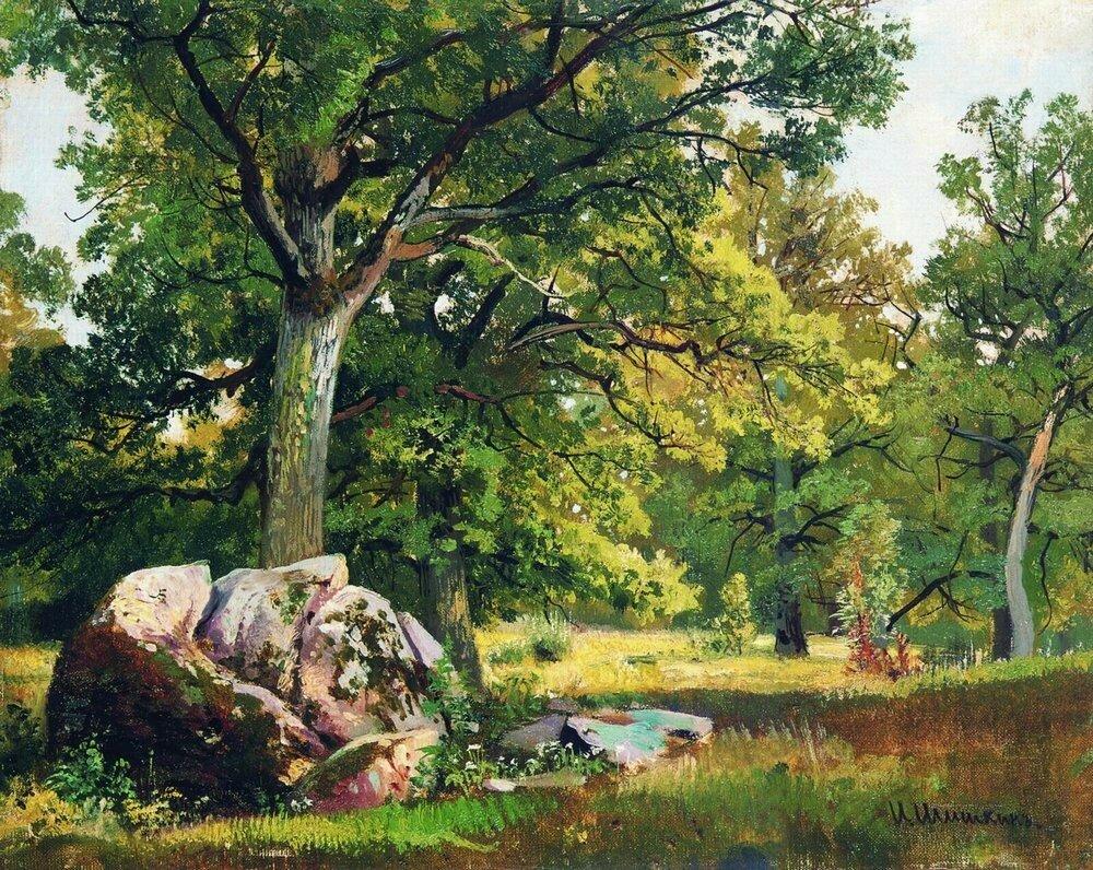 Солнечный день в лесу.Дубы 1891 30х37.jpg