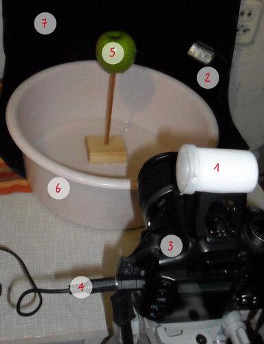 Световая схема  яблока в брызгах воды