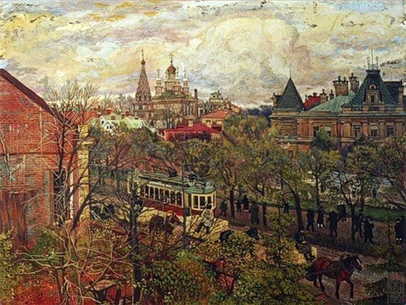 Вид на Яузский бульвар. 1920-е. Михаил Климентов.