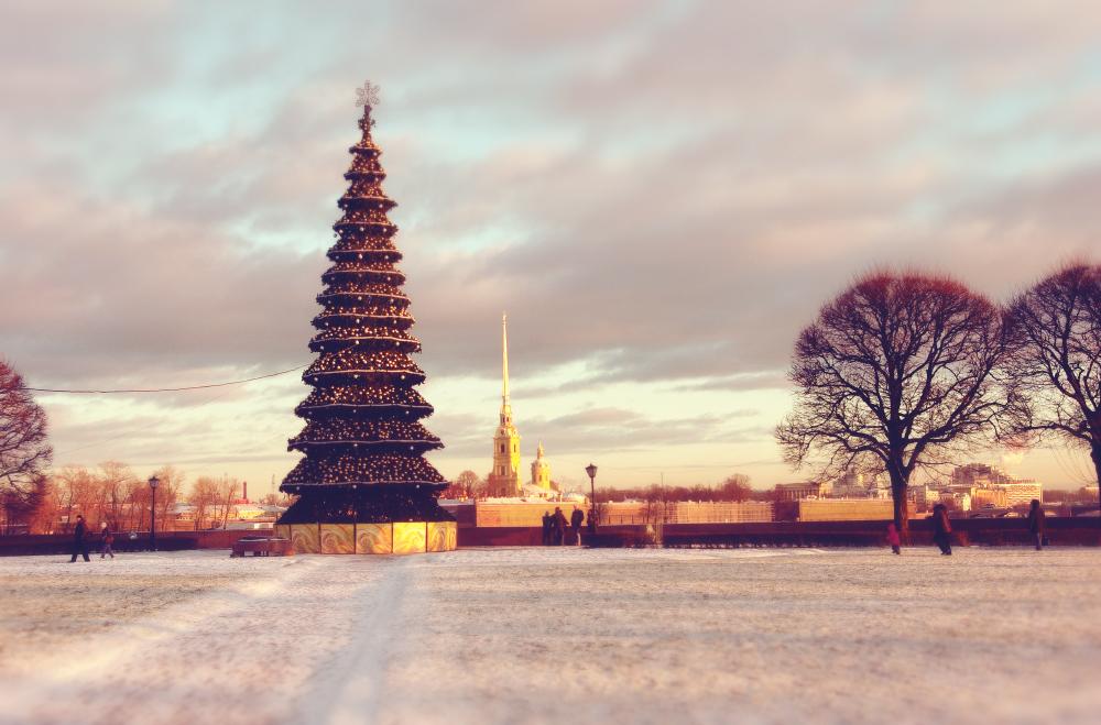 Новогодняя елка в Петербурге на стрелке Васильевского острова