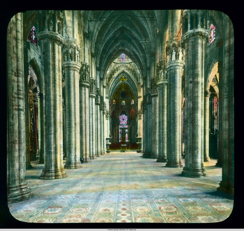 Milan. Cathedral (Duomo): interior, nave view from the entrance