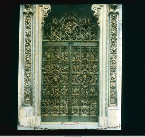 Milan. Cathedral (Duomo): exterior detail, central door, by Lodovico Pogliaghi (ca. 1908)