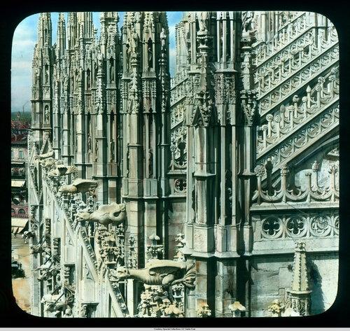 Milan. Cathedral (Duomo): roof detail, spires and gargoyles