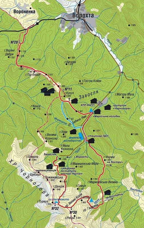 карта окрестностей горы говерла