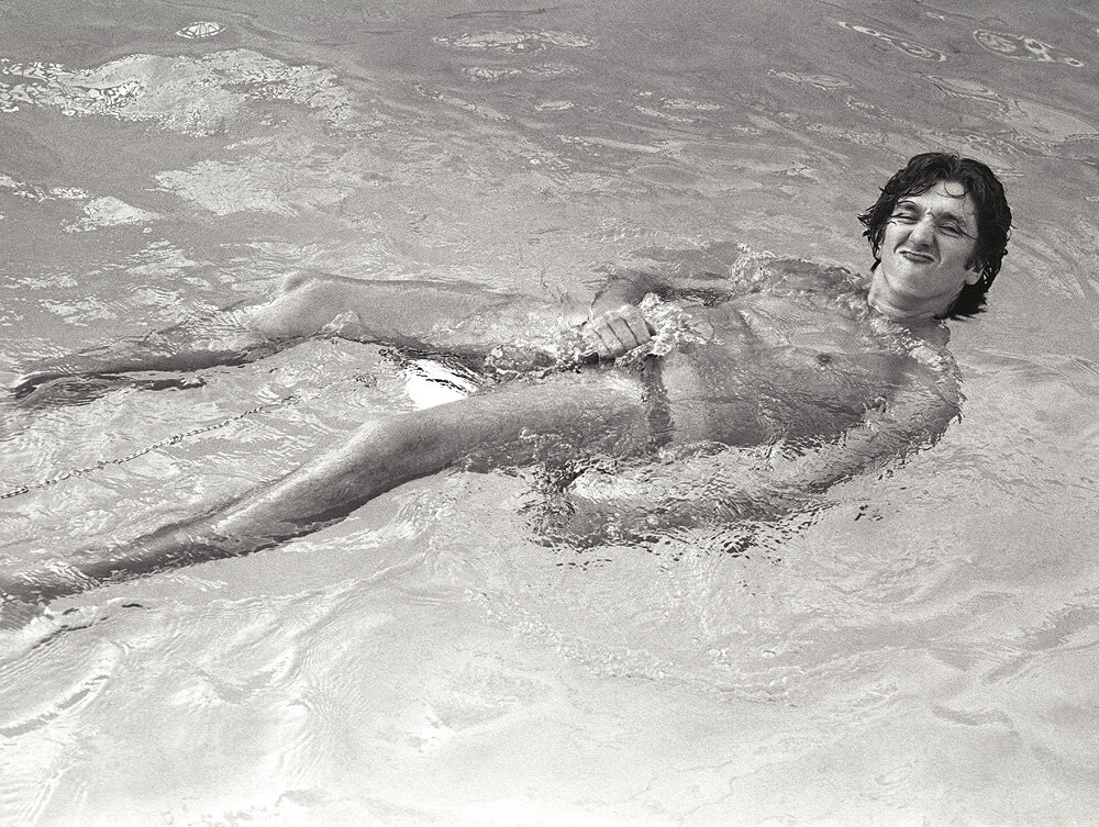 Steve Jones from the Sex Pistols in the pool, 1978