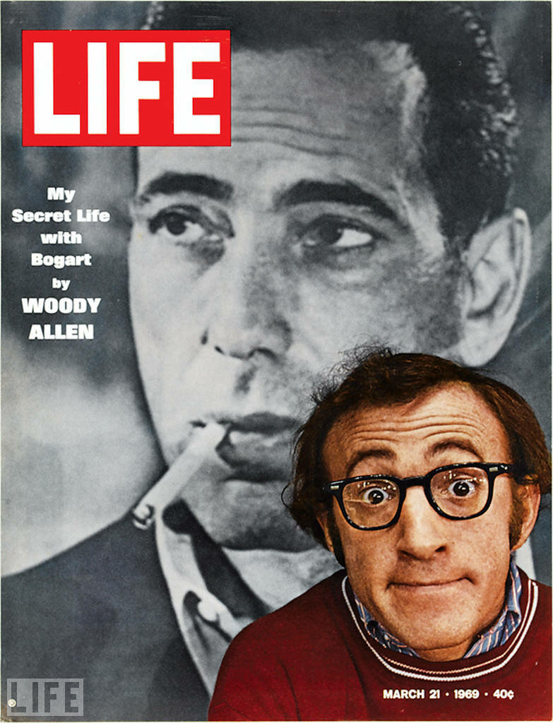 Woody Allen in the background of a photo of Humphrey Bogart - March 21, 1966 (LIFE)