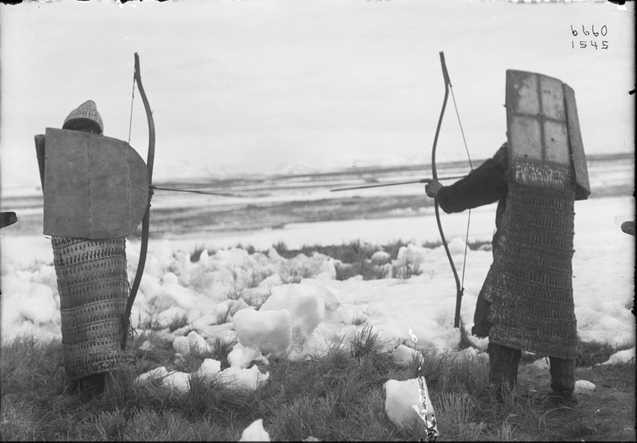 Коряки в броне, с луком и стрелами. 1901