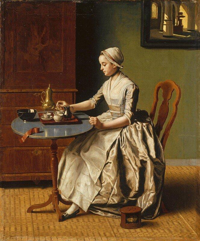 Жан Этьен Лиотар (Jean-Etienne Liotard) - Леди, пьющая шоколад