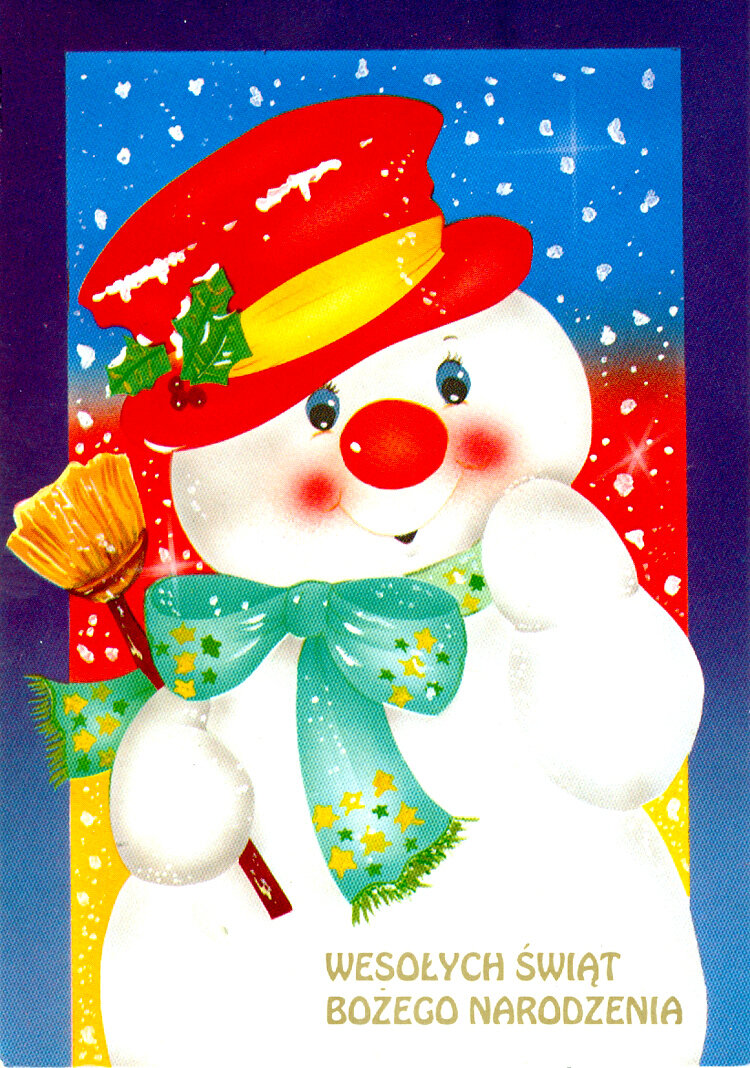 Открытка снеговики с новы, надписью