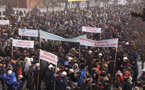 Горняки Рудного на события в Жанаозене традиционно ответили поддержкой политики Нурсултана Назарбаева