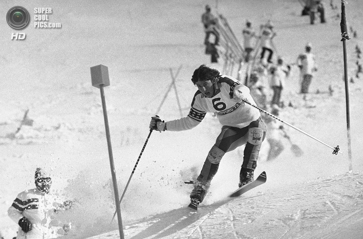 Япония. Саппоро, Хоккайдо. 13 февраля 1972 года. Тайлер Палмер из США на соревнованиях по слалому. (