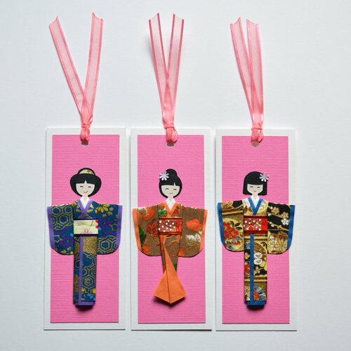 Закладки с японскими куклами оригами