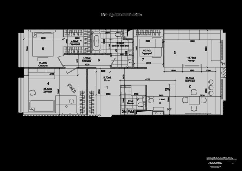 Реконструкция интерьера квартиры, план. В отделке помещений использовались высококачественные импортные и отечественные материалы, соответствующие требованиям российских стандартов, пожарным нормам и разрешенные к применению на территории РФ