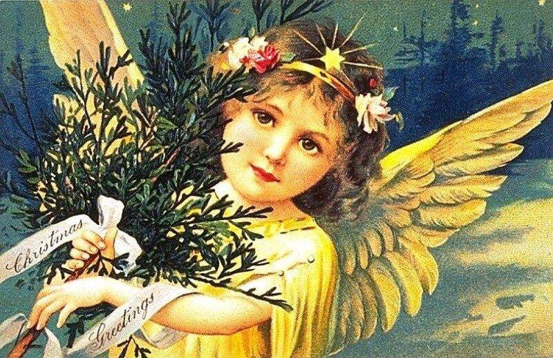 Ангел на открытке к рождеству