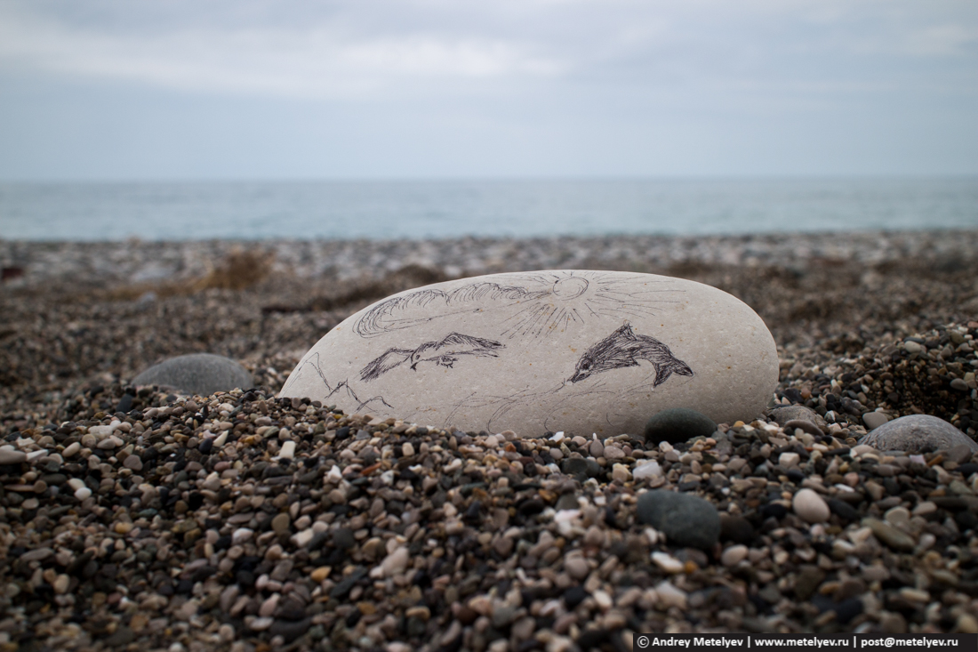 "Рисунок на камне ""море, дельфин, чайка"""