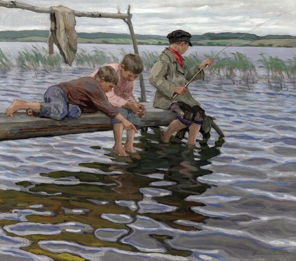 Богданов-Бельский: Рыбалка детей с мостков Частная коллекция71.1x80