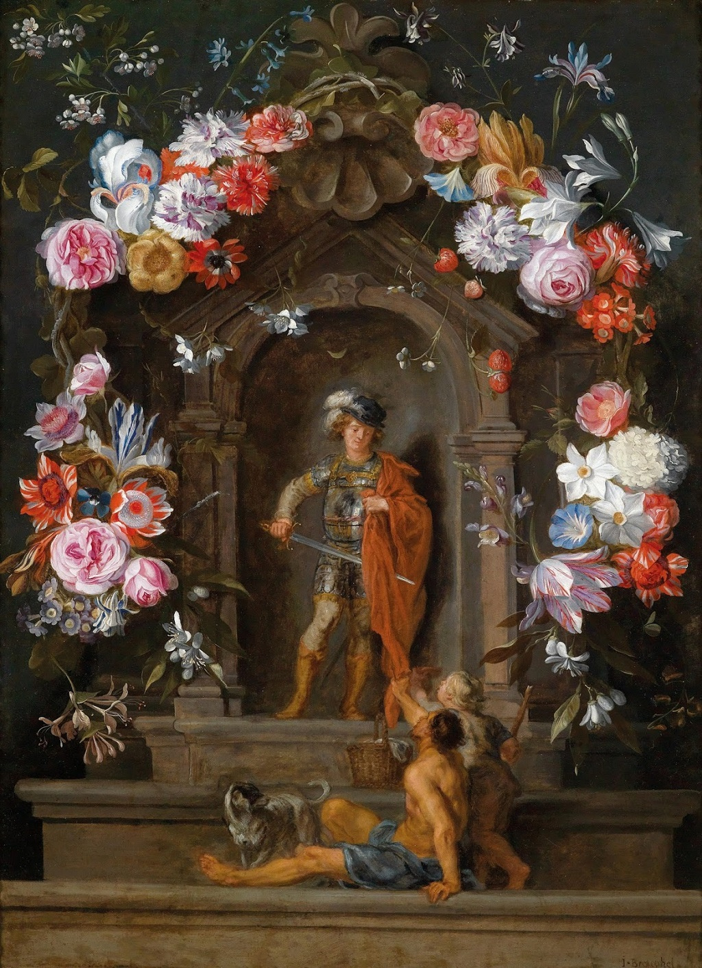 5 Jan Pieter Brueghel or Jan Pieter Breughel (1628-1664) — Pair of Flower Garlands with San Martin and Magdalena.jpg