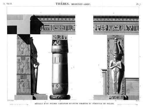 Дворец Рамсеса III в Мединет-Абу, близ Фив, ордер перестильного двора