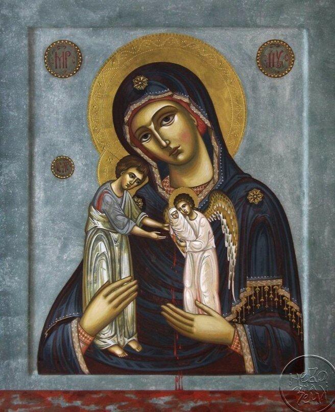 """Икона Богородицы """"Скорбящая о младенцах, во чреве убиенных""""."""
