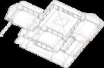 Зенитное окно в кровле, перспективный вид жилого дома, вид сводчатых конструкций кровли в изометрической проекции