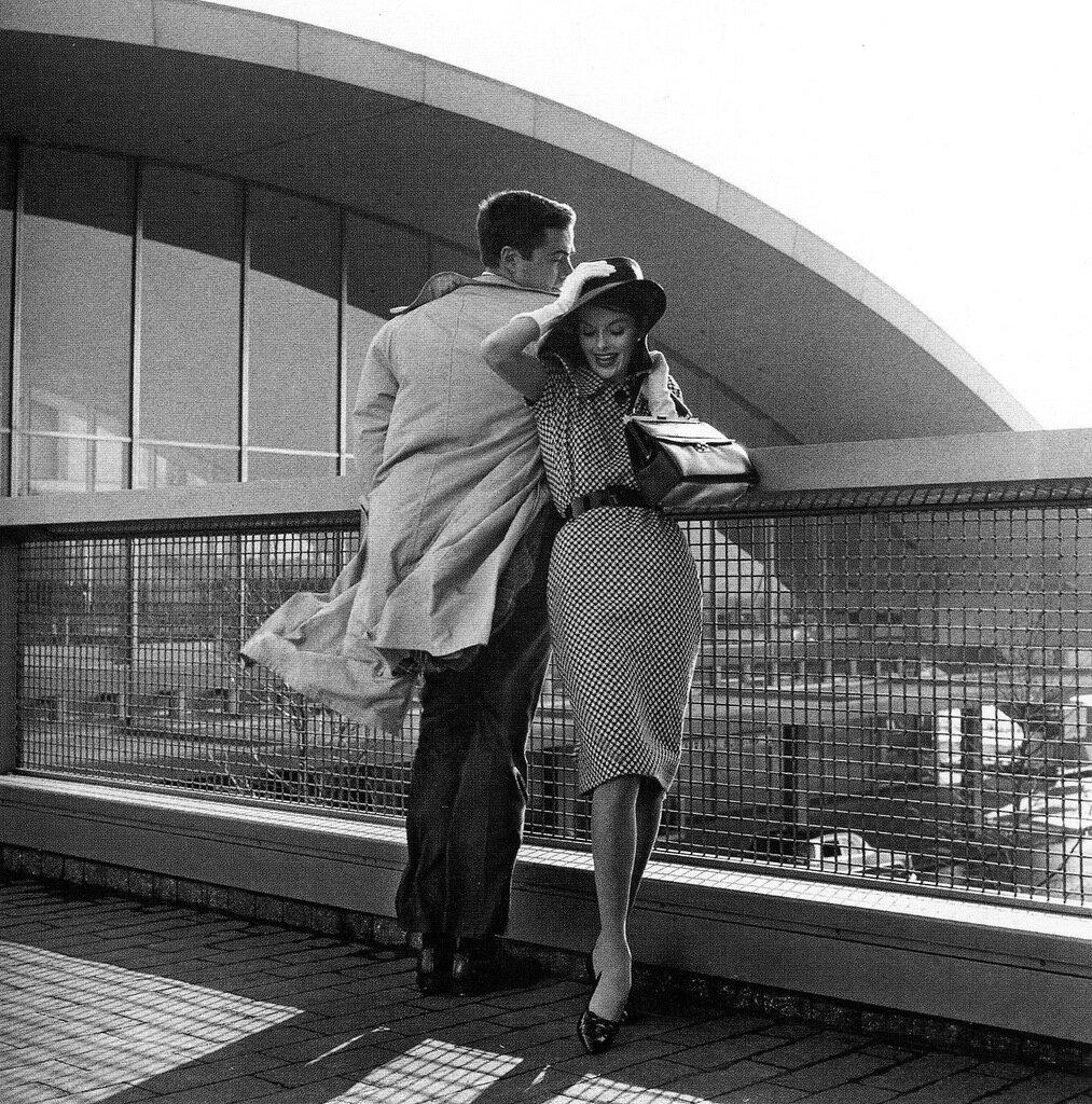 Jerry Schatzberg.Anne St. Marie and Bob Smith, TWA Terminal, New York, 1959