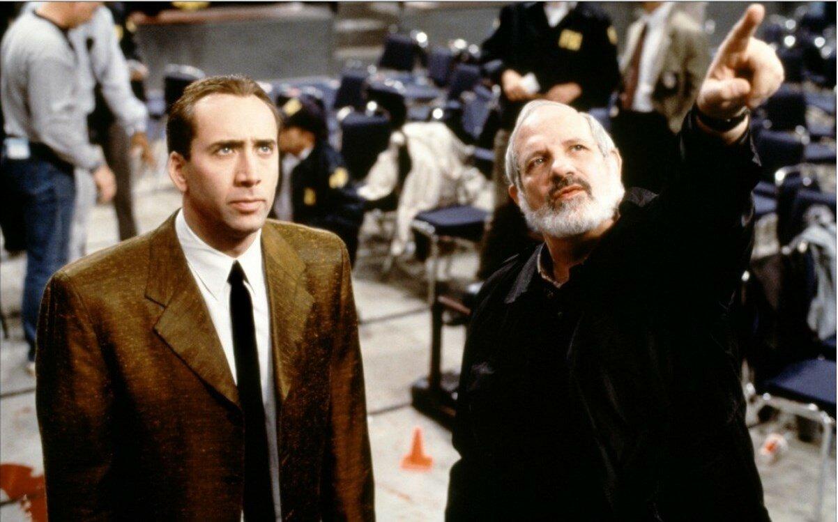 1998. Брайан Де Пальма с Николасом Кейджем на съемках «Глаза змеи»