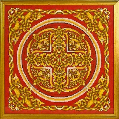 Счетный крест.  Набор содержит все необходимое для вышивания: цветную символьную схему, иглу, 14 Аиду...