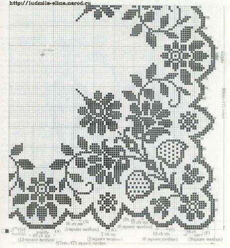 схема для филейного вязания и для вышивки крестом.