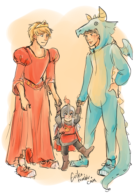 The Brave Knight, Beautiful Princess, and Fearsome Dragon go trick or treating