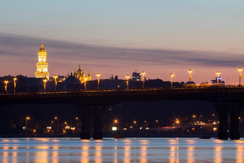 Beautiful Kiev skyline at sunset, Ukraine