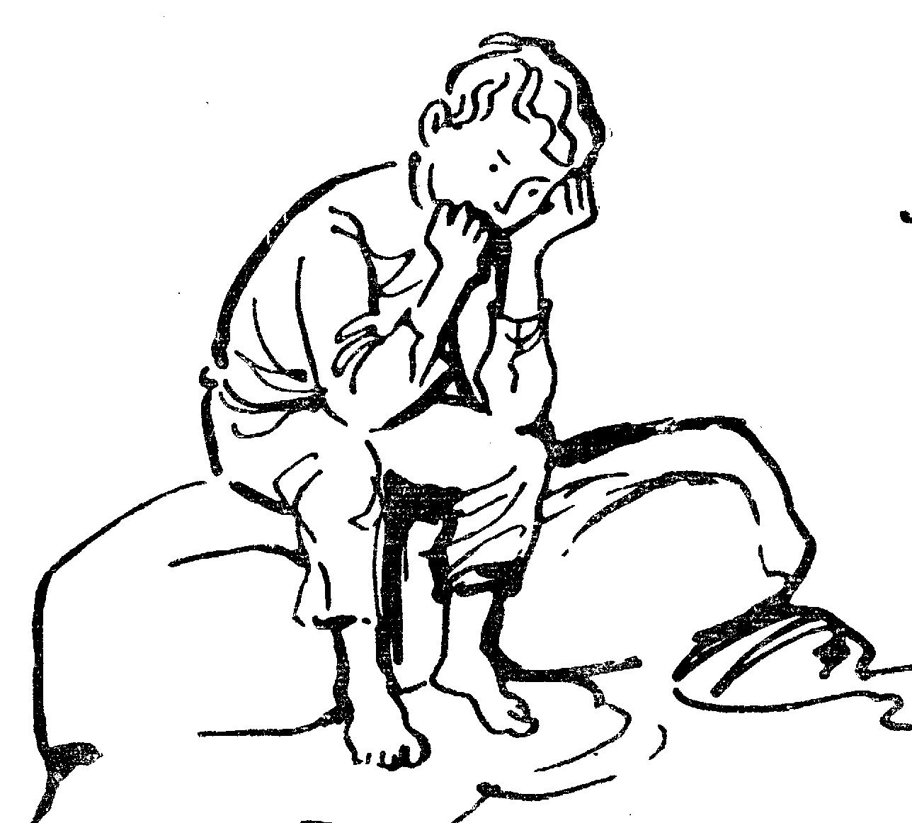 Рисунок мальчик на камне