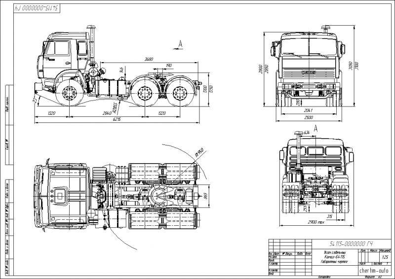 Габаритный чертеж седельного тягача Камаз 54115 в формате DXF.