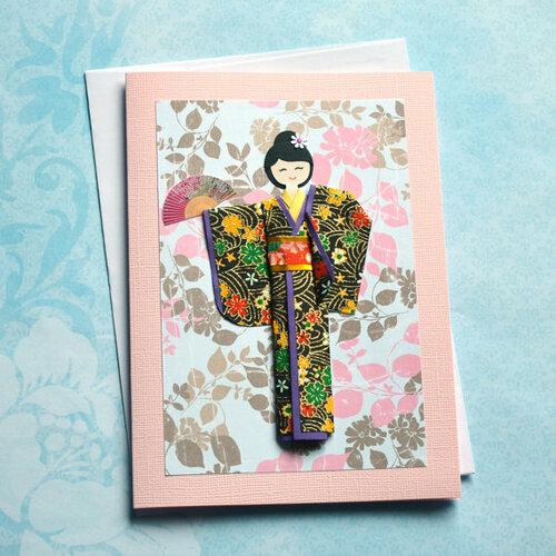 Открытка с японским кимоно оригами