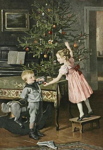 Marie Wunsch (1862-1898). Дети наряжают ёлку. 1895 г.